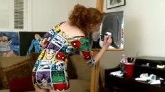 Sexy Huge Ass-Hole Readhead MILF Painting In A Tight Minidress ! Enjoy Upskirt !