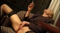 Jennifer George Smokes Self Gratification In Bottomless Workplace Outfit