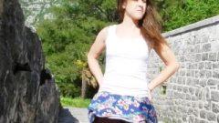 Windy Upskirt And No Undies In Public