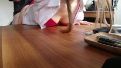 Banging Wife In Business Look Stockings During Office Work Spunk Into Panties