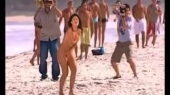 Embarrassed Naked Female In Beach